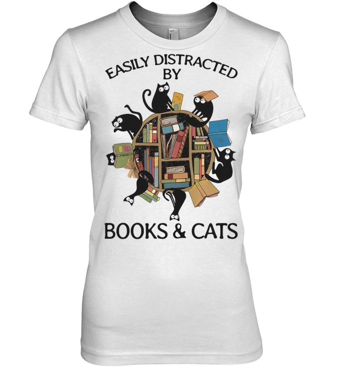 Easily Distracted By Books And Cats ladies